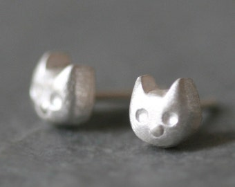 Baby Kitten Stud Earrings in Sterling Silver