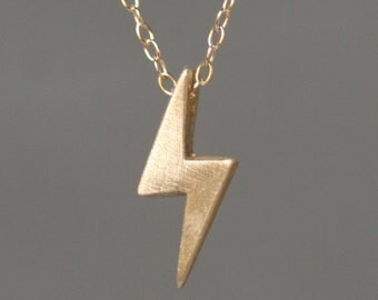 Lightening Bolt Necklace in 14k Gold