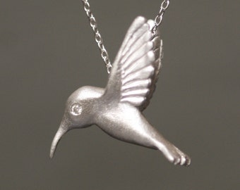 Hummingbird Pendant Necklace in Sterling Silver with Diamonds