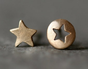 Mismatched Star Cutout Stud Earrings in 14k Yellow or White Gold