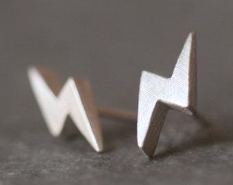 Lightening Bolt Stud Earrings in Sterling Silver