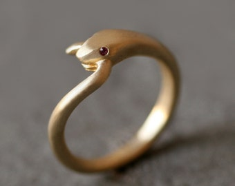 Snake Tail Ring in Brass with Gemstone Eyes