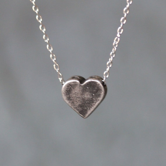 Heart Necklace with Holes in Antiqued Sterling Silver