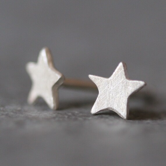 Tiny Star Stud Earrings in Sterling Silver