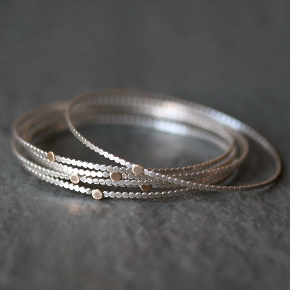 Gold Dot Circle Bangle in Sterling Silver and 14K Gold
