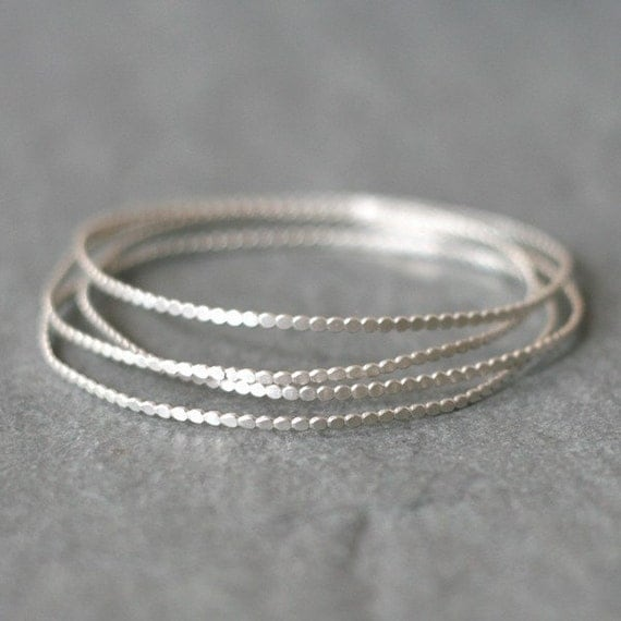 Tiny Circle Bangle in Sterling Silver (Set of Three)
