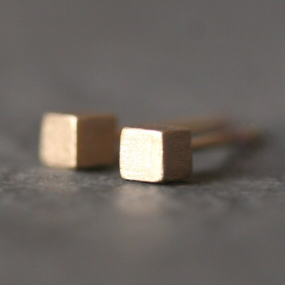 Tiny Cube Stud Earrings in 14k Gold