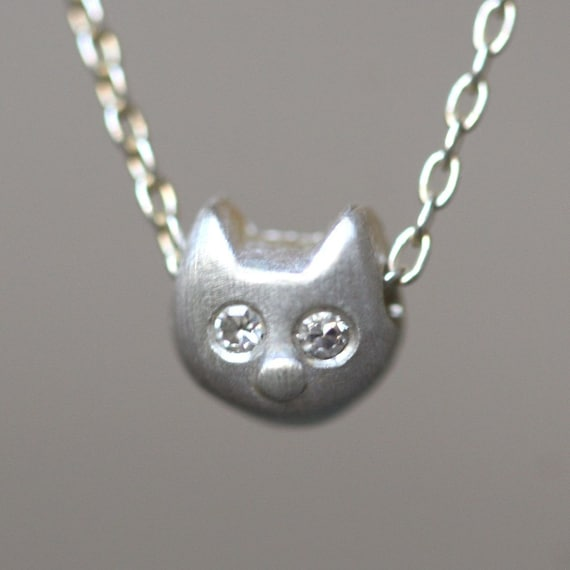 Baby Kitten Necklace With Diamonds in Sterling Silver