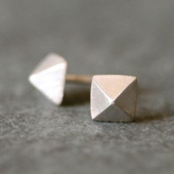 Low Pyramid Stud Earrings in Sterling Silver