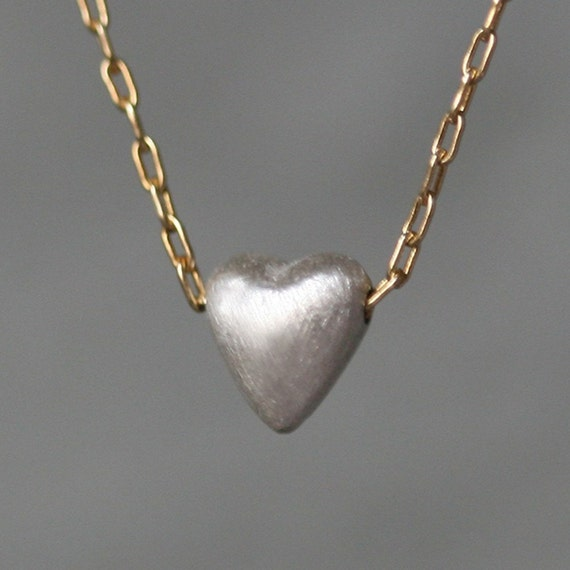 Tiny Puffy Heart Necklace in Sterling Silver with Gold Filled Chain