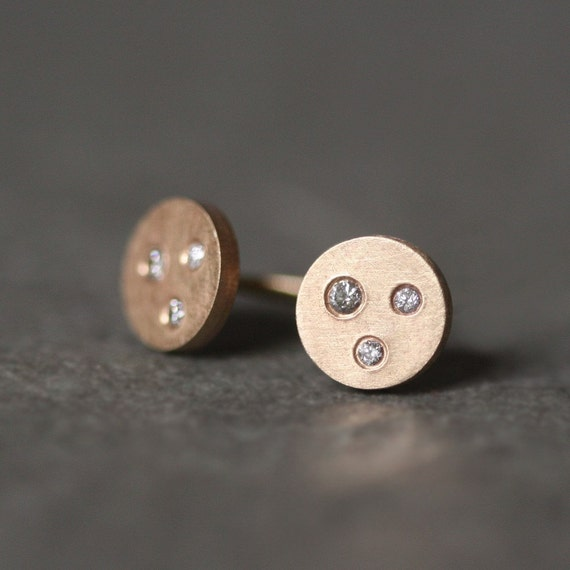 Three Diamond Button Stud Earrings in 14k Gold