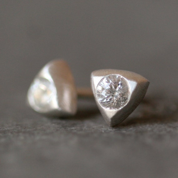 Small Triangle Solitaire Stud Earrings in Sterling Silver with White Sapphire