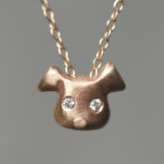 Puppy Necklace in 14K Gold and Diamonds