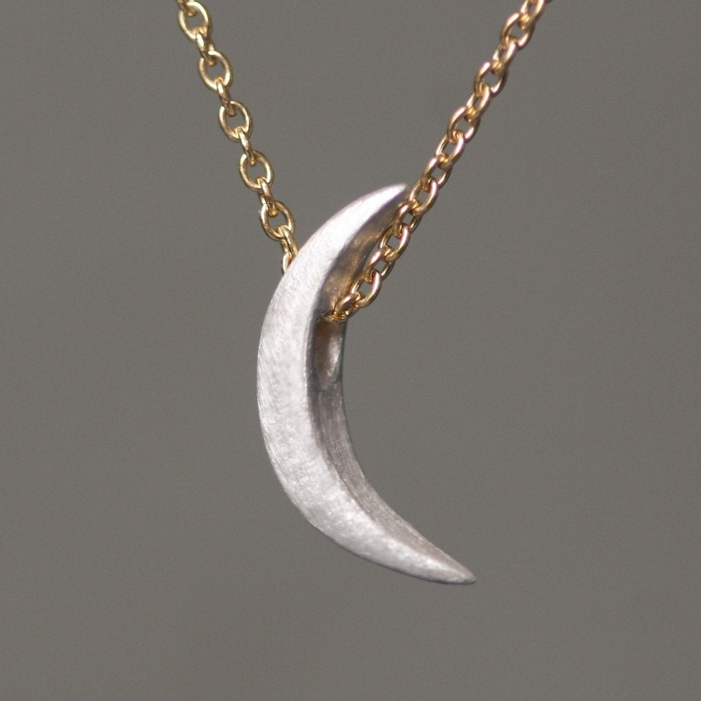 Crescent Moon Necklace in Sterling Silver with Gold Filled