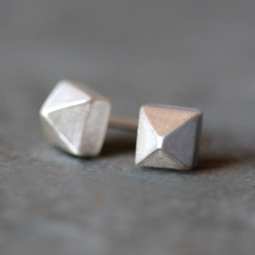 pyramid studs earrings pyramid stud earrings in sterling silver by 8880