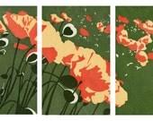 Poppies Triptych - Original Woodblock Prints
