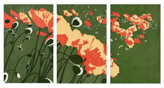Poppies Triptych - Original Woodblock Prints