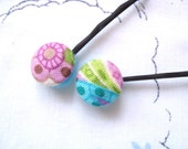Fabric Button Hair Clips Handmade