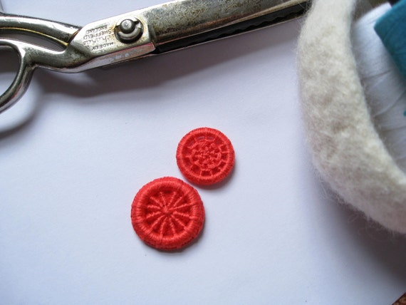 Red and Red Buttons Handmade - Dorset Cross Wheel Buttons -  Set of 2