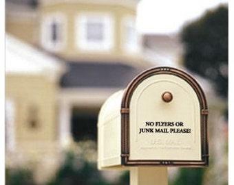 No Junk Mail Mailbox decal