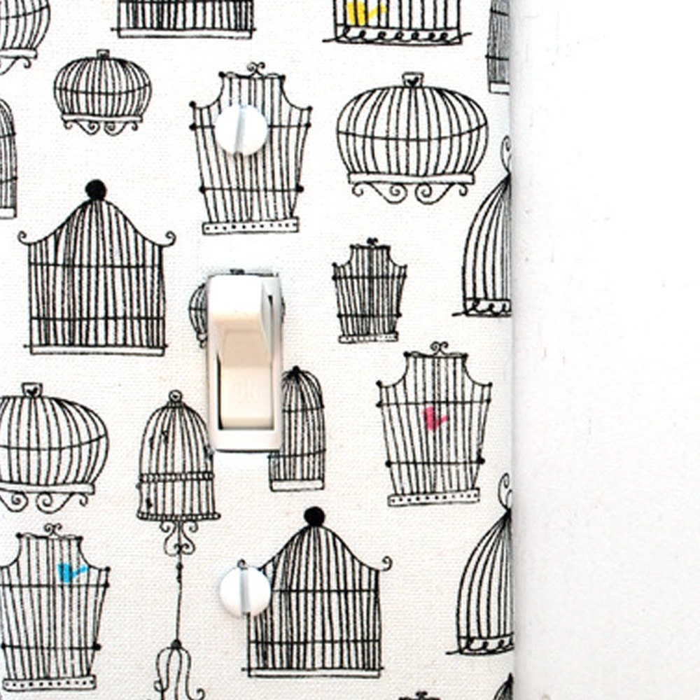 light switch plate cover wall decor white with black bird
