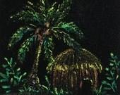 Original Black Velvet Painting ACEO ATC  and a FREE Black Velvet  Tiki Print