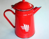 Red Enamel Tea Pot or Coffee Pot : Vintage Enamelware, Romania