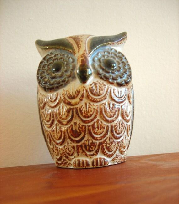 Vintage Owl Toothbrush or Pencil Holder - Woodland Bathroom or Office Decor