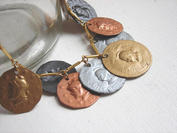 Vintage Coin Necklace : Ethnic Boho Costume Jewelry
