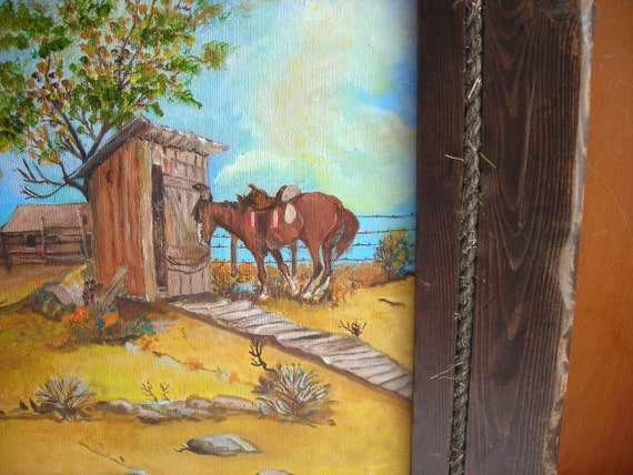 Western Wall Art in Wood Frame : Original Painting of Horse Outhouse