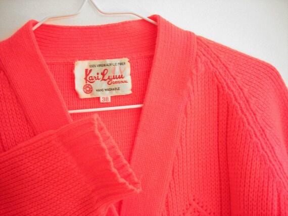 Vintage Neon Cardigan Sweater : Fluorescent Pink Red Orange Clothes Japan