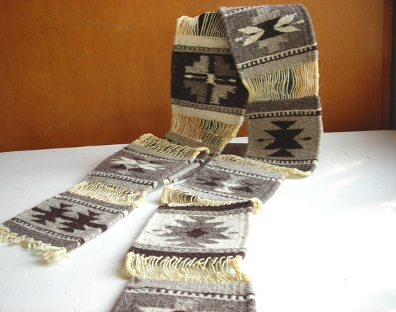 Geometric Woven Wool Textile : Southwestern Natural Brown Decor or Scarf