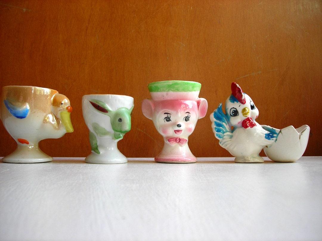 4 Vintage Egg Cups Porcelain Ceramic Animal Misfits