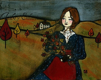 PRINT Maple and Bittersweet autumn old fashioned girl folk art