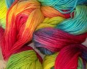 77 yds Rainbow Handspun Handpainted Yarn  / Etsy Rainbow Yarn / Makes Waldorf Doll Hair