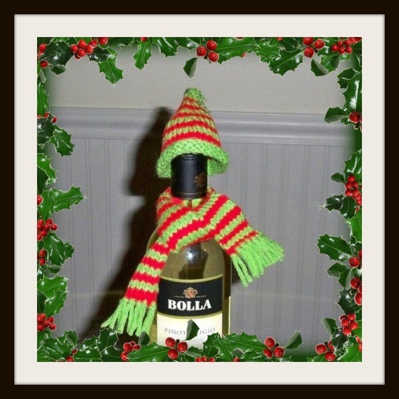 pdf e pattern Wine Bottle Cover /Cover that Bottle/epatternWine hat and scarf pattern / e pattern