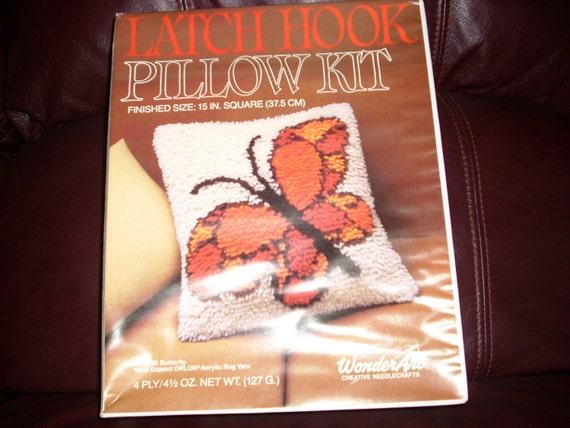 Vintage Latch Hook Pillow Kit Butterfly Pattern Deadstock