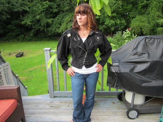 Vintage  80s Studded  Black Jacket  Beat it Coat Sz medium
