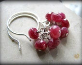 Red Berries Earrings Rubies Ruby Gemstones Sterling Silver Christmas Earrings July Birthstones