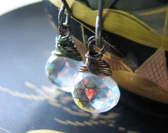 Mystic Quartz Oxidized Earrings Sterling Silver Rainbow Clear Gemstones - Meditation Yoga Spirituality - Gift Birthday Christmas Anniversary