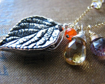 Leaf & Gems Gold Necklace - On Sale REDUCED PRICE - Charm Citrine November Amethyst February Carnelian August Gold Filled