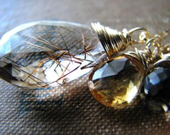 Large Golden Rutilated Quartz Necklace -Smoky Quartz, Yellow Citrine - Energy Healing Quartz Stone