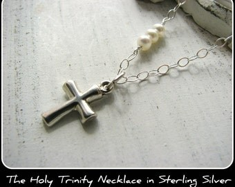 PETITE Cross Necklace - Small Mini Pendant Pearls - Gift Baby Newborn Infant Child Girl Toddler Adult