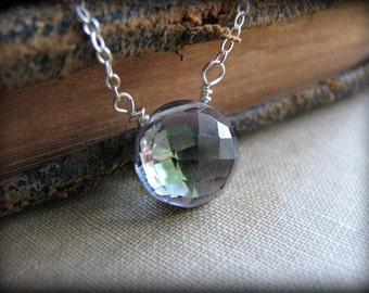 Mystic Rainbow Topaz Necklace - November Birthstone - Creativity Stone - Sterling Silver Gemstone,  Simple Necklace