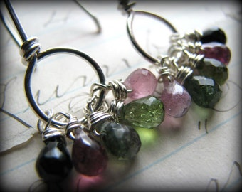 Petite Petite Pink Green TOURMALINE EARRINGS -Understated Rainbow Colors October Semi Precious Gems Sterling Silver Artisan - Gift Ideas