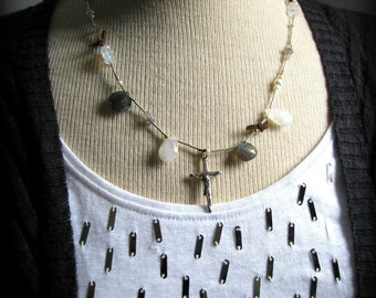 Crucifix Gemstones Necklace - Eclectic White Silver Gray - Gift Daughter Mother Wife Best Friend Baptism