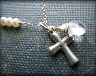 Small Silver Cross Necklace - PRIORITY USPS - Quartz Fresh Water Pearls Sterling Silver - Gift Baptisms, Christening, First Communion