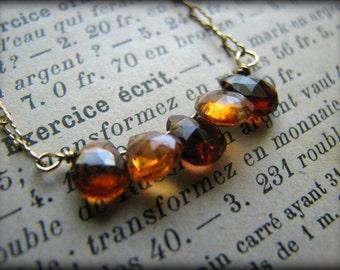 Autumn Burnt Orange Tourmaline Gold Necklace - 5 Five October Birthstones - Gift Christmas Birthday Anniversary Graduation Wife Best Friend