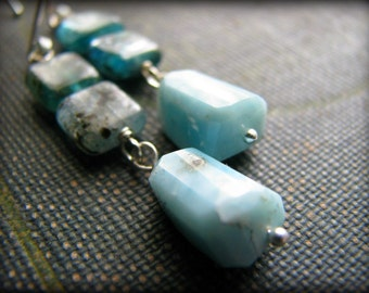 Larimar and Aquamarine Earrings Dangle Sterling Silver Fancy Earwires Gift for Mother Daughter Girlfriend Best Friend