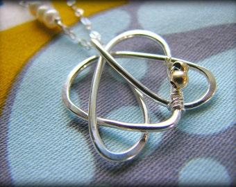 Celtic Sister Heart Pendant Necklace - Tattoo Design Symbol Heart Trilogy -Sterling Silver - Gift Christmas Sister Best Friends Girl Friends